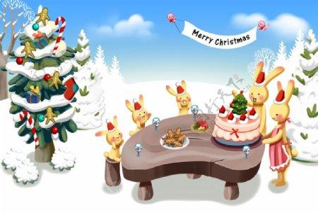 圣诞雪景卡通兔子图片
