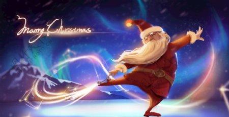 滑雪的圣诞老人图片