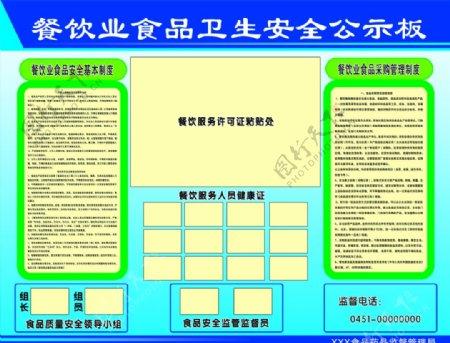 餐饮业卫生安全公示板图片