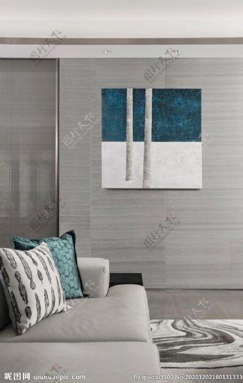 客厅的孔雀蓝图片