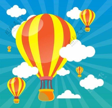 飘在空中的云和气球图片