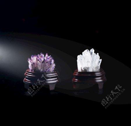 天然紫水晶白水晶簇水晶六棱柱图片