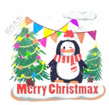 圣诞企鹅插画图片