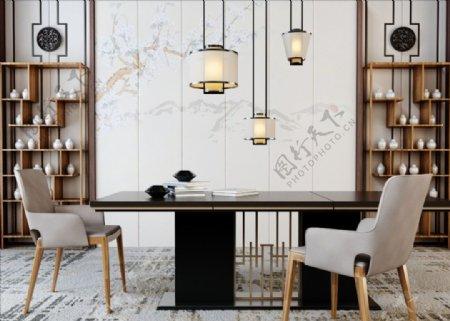 新中式餐桌椅组合博古架3d模型图片