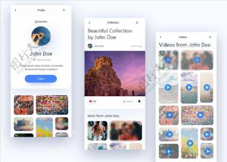 xd设计蓝色UI设计个人中心页图片