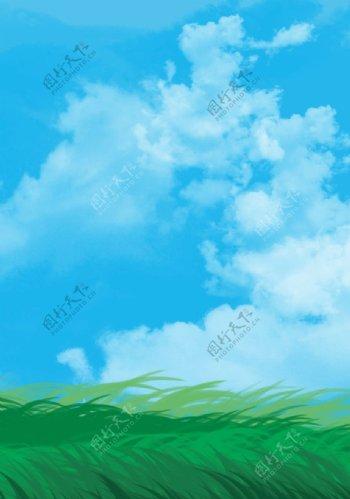 蓝天白云小草元素图片