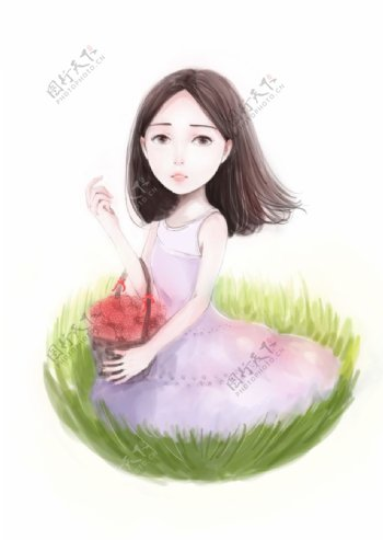 草莓女孩图片