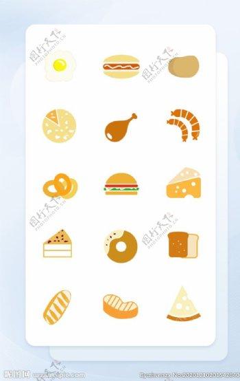 烘焙面包甜品面形矢量icon图图片