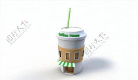 C4D模型咖啡杯房子大楼图片