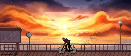 夕阳下的单车少年插画图片