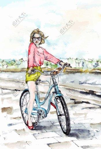 美女骑自行车图片