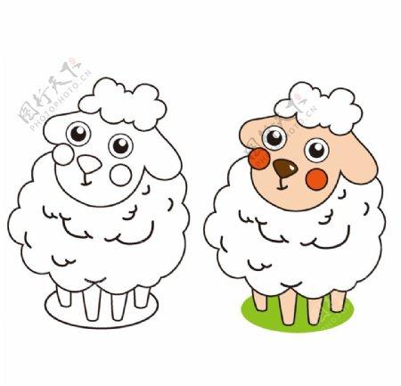矢量绵羊简笔画图片