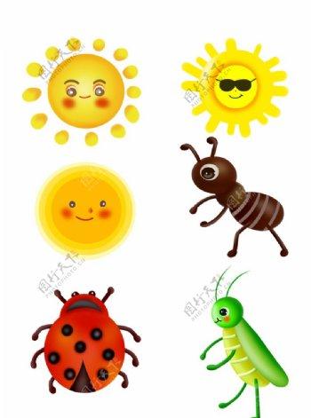 卡通昆虫瓢虫蚂蚁图片