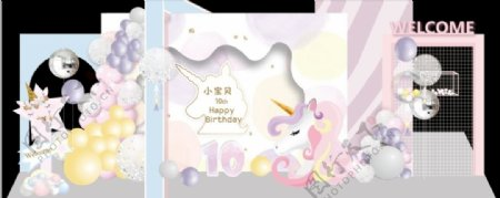 水彩独角兽宝宝宴背景素材图片