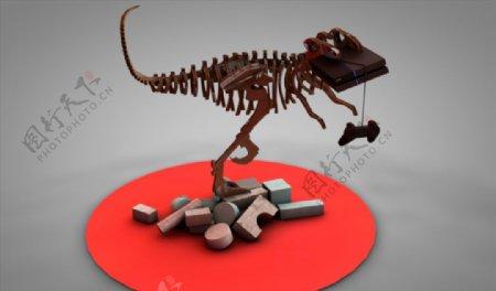 C4D模型恐龙化石骨头图片