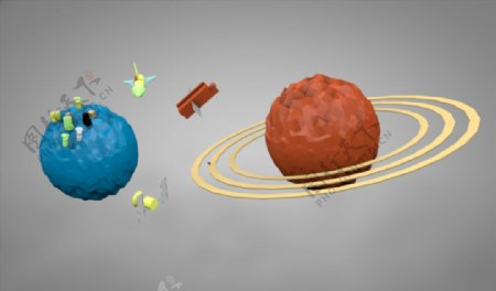 C4D模型太空星球图片