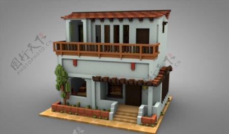 C4D模型像素高房子图片