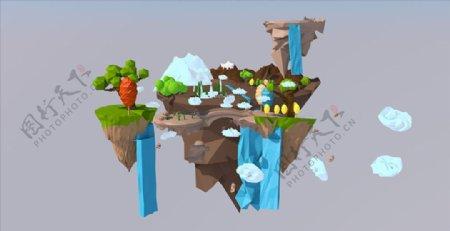 C4D模型低面体悬浮岛屿瀑布图片