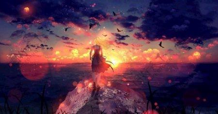 森林阳光风景手绘二次元图片