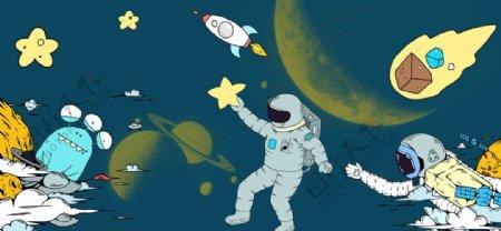 太空儿童房装饰画图片