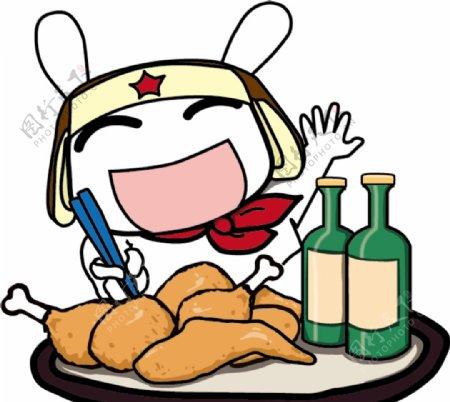 兔子啤酒炸鸡图案图片