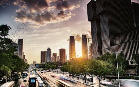 北京日落城市图片