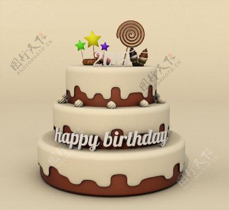 C4D模型巧克力生日蛋糕图片