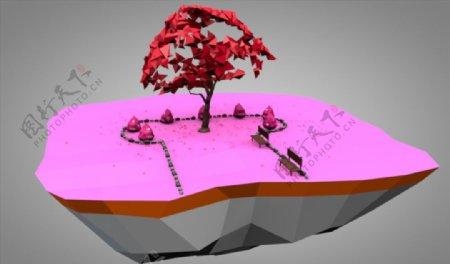 C4D模型树木石头图片