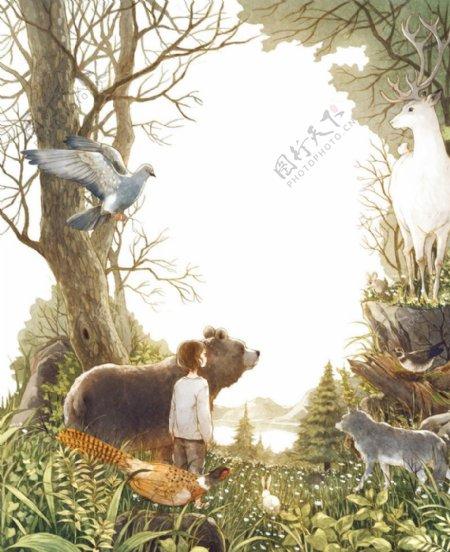 女孩森林卡通插画场景背景素材图片