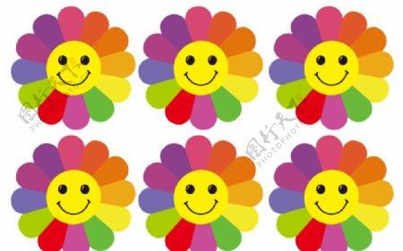七彩微笑花朵图片