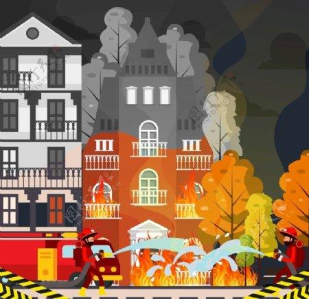 创意救火场景设计矢量素材图片