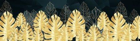 鎏金叶子奢华抽象床头画图片