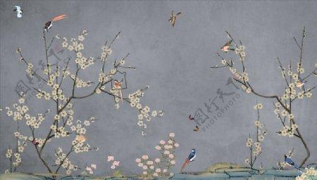 手绘画鸟梅花背景墙图片