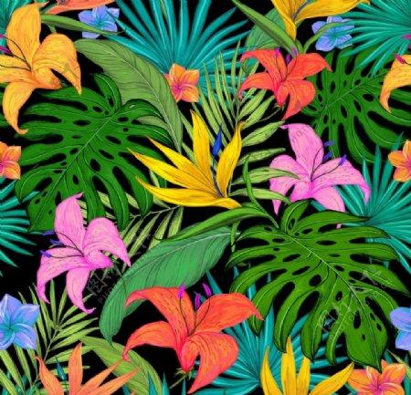 循环热带花型图片