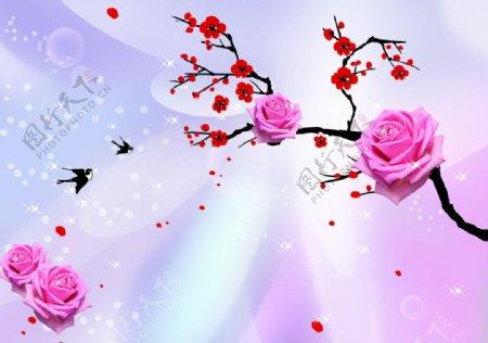 梦幻玫瑰梅花燕子图图片