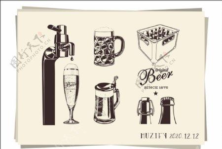 6款入啤酒图标素描画图片