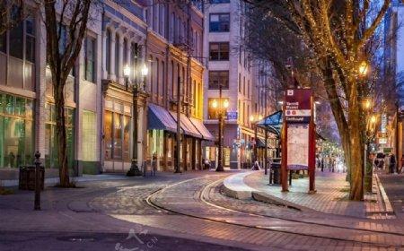 夜晚商业区图片