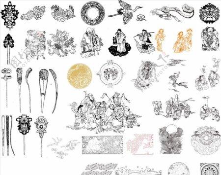 中华文化元素矢量图图片