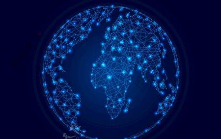 蓝色点线风格地球EPS素材图片