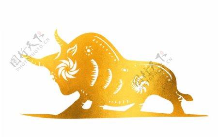 2021牛年剪纸金色牛形象图片