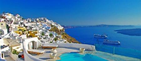 海滩上的度假宾馆图片
