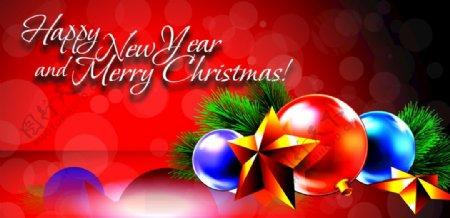 圣诞树素材圣诞球红底图片
