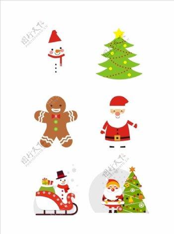 圣诞节元素之卡通可爱圣诞老人图片