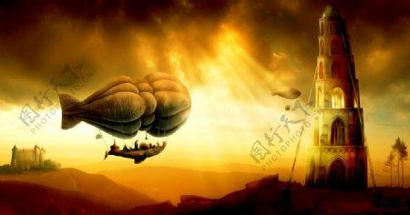 热气球飞船油画图片