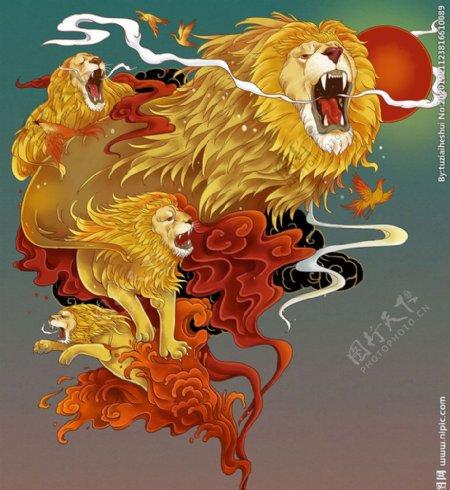 雄狮复古插画卡通背景素材图片