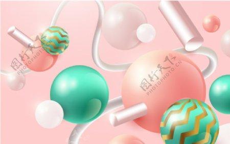 3D立体虚实圆形图形粉色背景图片