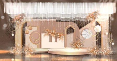 唯美浪漫奶茶色婚礼手绘效果图图片