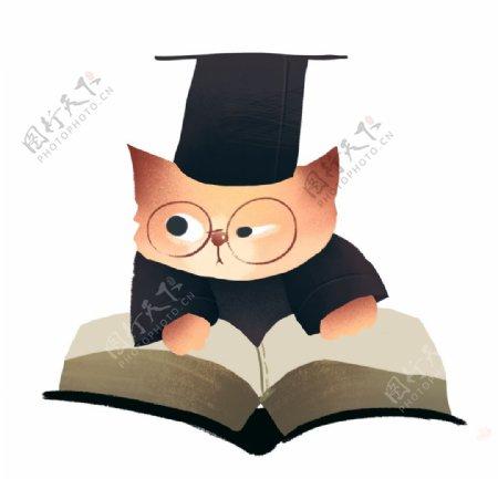 戴眼镜认真看书的小猫图片