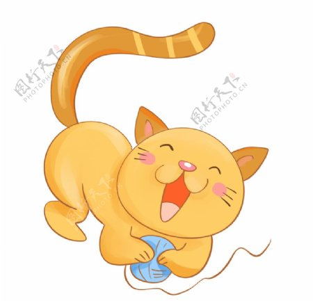 手绘玩毛线的猫咪图片
