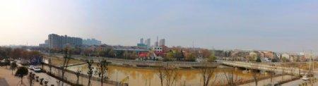 蓝天下的河道风景图片